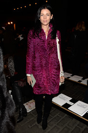 Liberty Ross looked ultra luxe at the Rag & Bone fashion show in a Christian Dior astrakhan coat in a lovely berry hue.