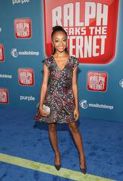 Skai Jackson looked adorable in a printed mini dress by ML Monique Lhuillier at the premiere of 'Ralph Breaks the Internet.'
