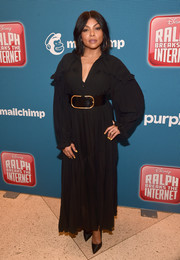 Taraji P. Henson arrived for the world premiere of 'Ralph Breaks the Internet' wearing a long-sleeve black maxi dress.