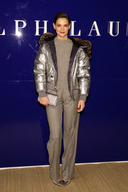 Katie Holmes teamed gray trousers with a matching sweater for the Ralph Lauren fashion show.
