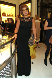 Gayle King looked demure in a black lace-panel evening dress during the screening of 'To Catch a Thief.'