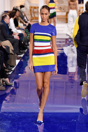 Joan Smalls looked dynamite in a multicolored striped sequin dress at the Ralph Lauren runway show.