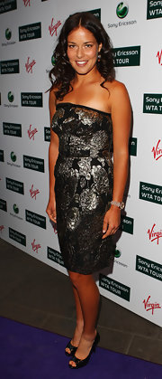 Ana Ivanovic shimmered in a strapless silver and black brocade dress at the pre-Wimbledon party.
