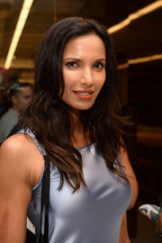 Padma Lakshmi styled her hair with flippy waves for the Ralph Rucci fashion show.