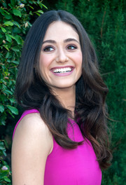 Emmy Rossum looked lovely at the Rape Foundation's annual brunch wearing her hair in high-volume, center-parted waves.