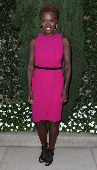 Viola Davis' sparkly sheer peep-toe black pumps were a shimmering finishing touch to her bold look.