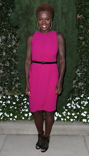 A touch of structured sparkle fit right in with Viola Davis' hot pink shift.