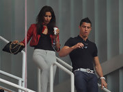 Cristiano accessorized his outfit with a white leather belt.