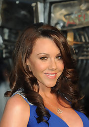 Michelle Heaton wore a silver chain necklace with a diamond-encrusted heart pendant at the movie premiere.