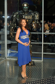 Michelle Heaton held her baby bump under her blue dress at the 'Real Steel' UK Premiere.