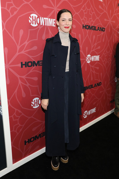Rebecca Hall Trenchcoat [season,homeland,clothing,red,carpet,premiere,suit,red carpet,outerwear,formal wear,flooring,dress,rebecca hall,new york city,museum of modern art,premiere,rebecca hall,homeland,homeland season 8,celebrity,premiere,showtime,actor,red carpet,photography]
