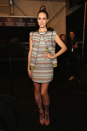 Louise Roe completed her look with a head-turning pair of colorful Rebecca Minkoff gladiator heels.