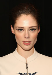 Coco Rocha sported perfectly applied cat-eye makeup during the Rebecca Minkoff fashion show.