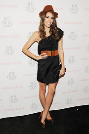 Louise Roe perfected her LBD with cognac and black suede Maggie platforms featuring gold cap toes.
