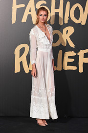 Stella Maxwell went boho in a white maxi dress at the 2019 Fashion for Relief London.