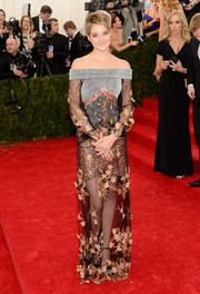Shailene Woodley was ornately decked out in a multitextured off-the-shoulder gown by Rodarte during the Met Gala.