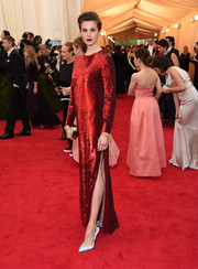 Elettra Wiedemann sparkled in a red sequined gown by Adam Lippes during the Met Gala.