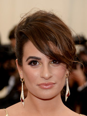 Lea Michelle wore a pair of dangling diamond and ruby earrings for a glamorous finish to her look.