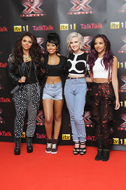Jesy Nelson's offbeat stars-and-stripes harem pants added some quirkiness to an otherwise edgy outfit.