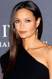 Thandie Newton wore her long glossy tresses sleek and straight at the Laureus World Sports Awards.