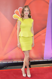 Tracy Spiridakos' sunshine yellow dress had a fun peplum detail at the waist for an added touch of feminine flare.