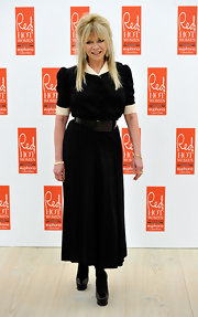 Jo Wood worked a ladylike look at the Red Hot Women Awards, wearing a black-and-white belted shirtdress.