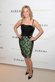 Reese Witherspoon was as chic as ever at the Pirch store launch in an Antonio Berardi cocktail dress featuring a black bodice and a brocade skirt.