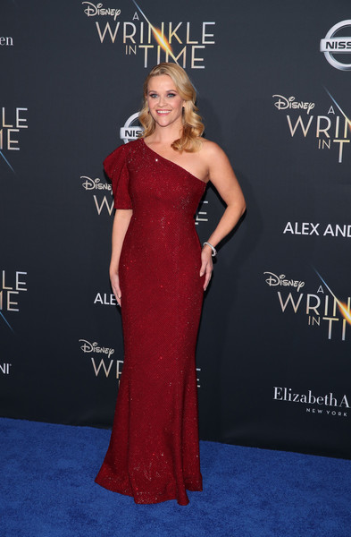 Reese Witherspoon One Shoulder Dress [a wrinkle in time,film,flooring,gown,beauty,dress,shoulder,lady,carpet,fashion model,joint,fashion,arrivals,reese witherspoon,actor,red carpet,flooring,disney,premiere,premiere,reese witherspoon,a wrinkle in time,dress,23rd critics choice awards,united states of america,red carpet,actor,film]