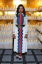 Taraji P. Henson coordinated her dress with a pair of tricolor bow pumps, also by Gucci.