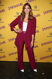 Jessica Alba was all business in a burgundy pantsuit at the 29Rooms San Francisco:Turn It Into Art party.