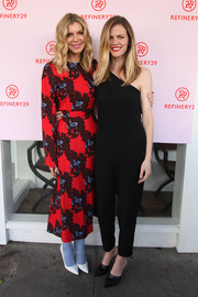 Brooklyn Decker complemented her jumpsuit with pointy black mules.