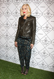 Gwen Stefani looked fall-ready in a black leather jacket with quilted sleeves during the Refinery29 Country Club launch.