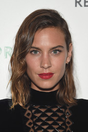 Alexa Chung's red lipstick added a dose of sexiness.