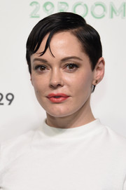 Rose McGowan sported a slicked-down side-parted 'do at the 29Rooms event.