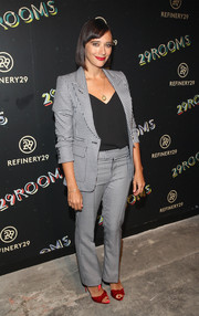 Rashida Jones opted for a gingham pantsuit when she attended the 29Rooms event.