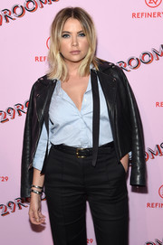 Ashley Benson toughened up in a black leather biker jacket for the 29Rooms: Turn It Into Art event.