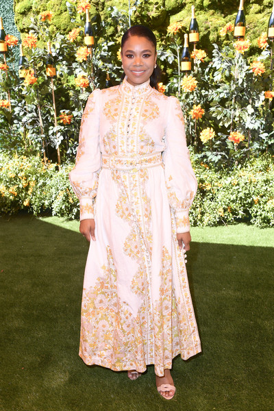 Regina Hall Print Dress [clothing,lady,dress,formal wear,fashion,fashion design,gown,haute couture,flooring,beige,arrivals,regina hall,los angeles,pacific palisades,california,will rogers state historic park,veuve clicquot polo classic]