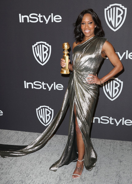 Regina King Evening Sandals [motion picture,if beale street could talk,clothing,dress,shoulder,fashion model,red carpet,joint,carpet,leg,muscle,event,winner,regina king,best actress in a supporting role,award,instyle,golden globes,warner bros.,arrivals]