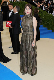 Frances Bean Cobain went the ladylike route in a tiered, sheer-overlay gown by Marc Jacobs at the 2017 Met Gala.