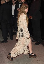 Mary-Kate Olsen kept her feet comfy in a pair of casual wedges when she attended the Met Gala after-party.