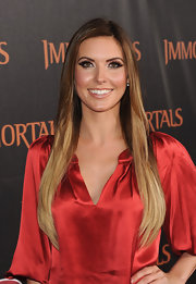 Audrina Partridge sported a pair of mile-long lashes and plenty of eye-enhancing copper shadow at the premiere of 'Immortals.'