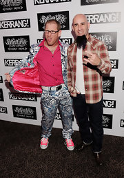 Corey Taylor was in the mood for pink at the Kerrang! Awards. His button-down, sneakers, and even the lining of his suit jacket were all pink.