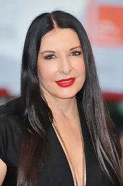 Marina Abramovic kept her hair sleek straight and classic at the Venice Film Festival.