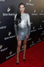 Selita Ebanks couldn't be missed in her ombre silver sequin dress during Remy Martin's special evening with Jeremy Renner.