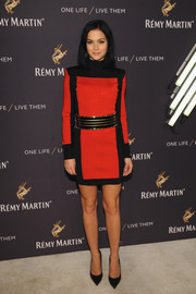 Leigh Lezark looked fierce in a bold-shouldered red and black mini dress at the One Life/Live Them event.