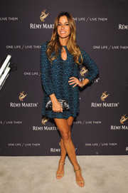 Kelly Bensimon went for a leggy look in a blue leopard-print mini dress during the One Life/Live Them event.
