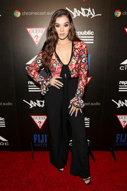 Hailee Steinfeld went for some '70s zing with this floral-bodice jumpsuit by Elie Saab during the Republic Records VMA party.