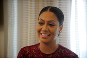 La La Anthony pulled her tresses back into a sleek center-parted chignon for the Red Cross Moms celebration.