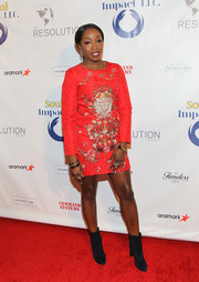 Estelle flaunted some leg in an embroidered red mini dress at the Resolution Project's Resolve Gala.