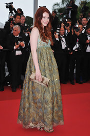 Bryce looked like a princess in a gold textured empire gown for the 'Restless' premiere at Cannes.
